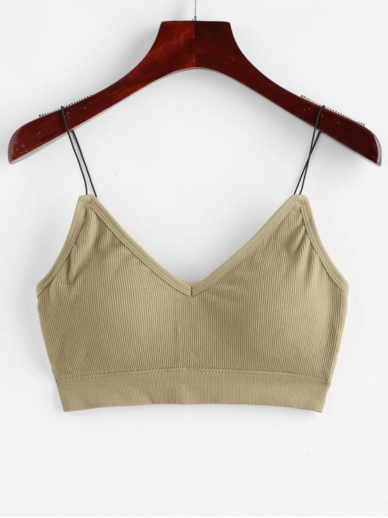 online Padded Bungee Ribbed Bralette Top - LIGHT KHAKI ONE SIZE