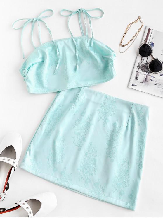 online Flower Jacquard Tie Shoulder Mini Skirt Set - LIGHT AQUAMARINE S