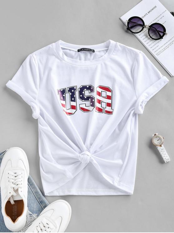 ZAFUL Camiseta con Estampado Patriótico de Bandera de Estados Unidos - Blanco S