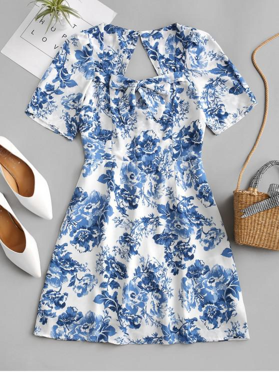 affordable Cut Out Back Bow Tie Floral Mini Dress - BLUE L