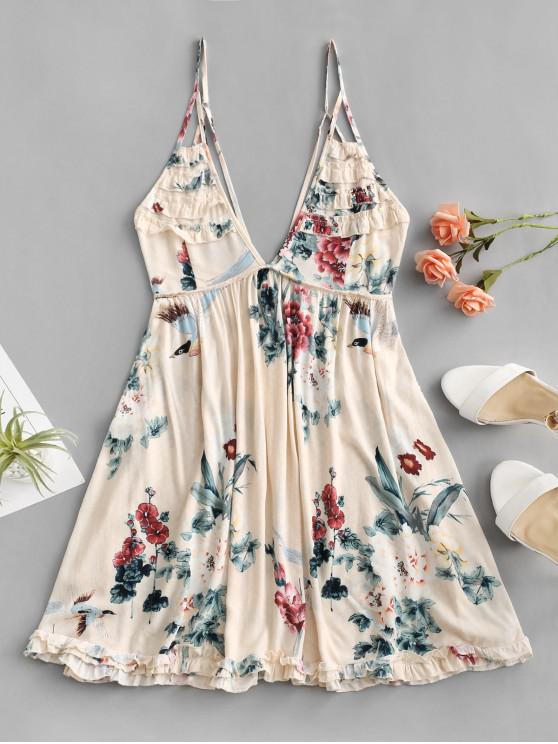 Robe Fleurie à Bretelle Ourlet en Laitue - Abricot L