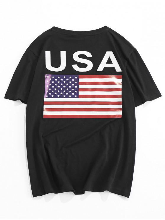 unique ZAFUL American Flag Letter Print T-shirt - BLACK 2XL