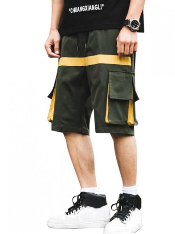 Letter Pattern Pocket Decorated Shorts - الجيش الأخضر XL