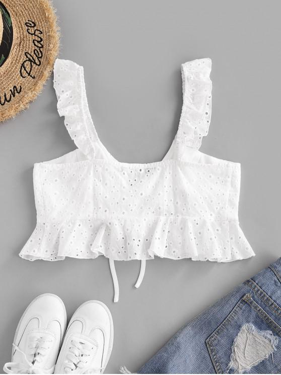 ZAFUL Broderie Anglaise Ruffle Plunge Crop Top - White L