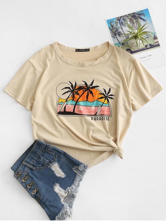 hot Beach Paradise Print Short Sleeve T-shirt - APRICOT L