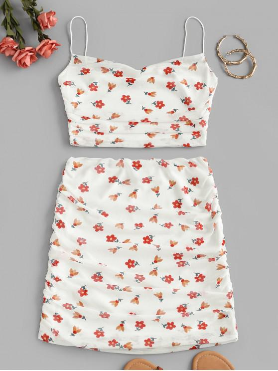 online Floral Mesh Ruched Cami Two Piece Set - WHITE M
