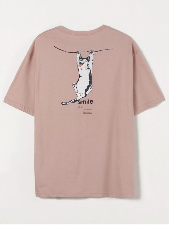 T-shirt Peinture Chat Graphique - Rose  2XL