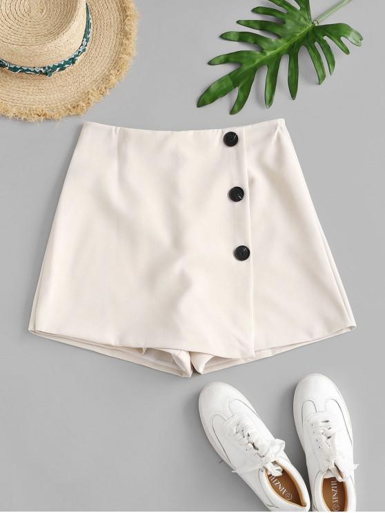 ladies Buttoned Overlap High Waisted Shorts - WARM WHITE S