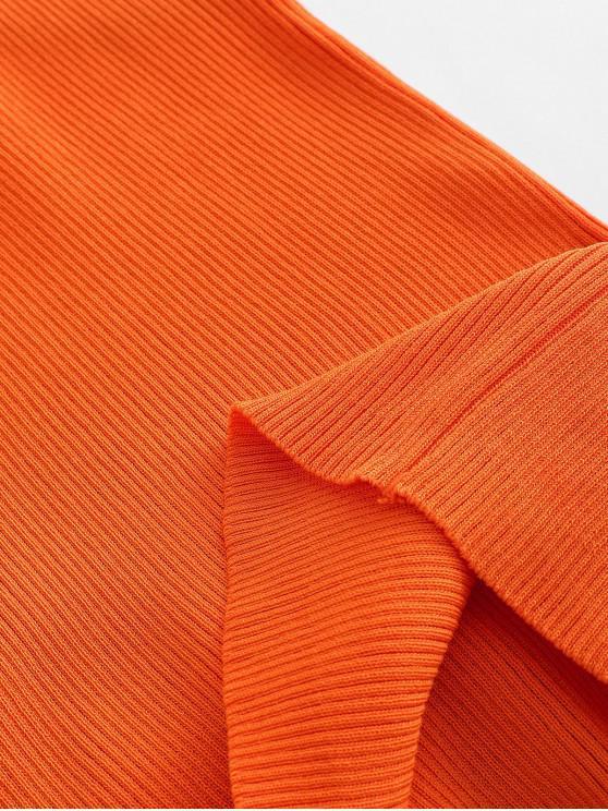 Crew Neck Stripes Panel Knitted Tank Top - Orange   ZAFUL
