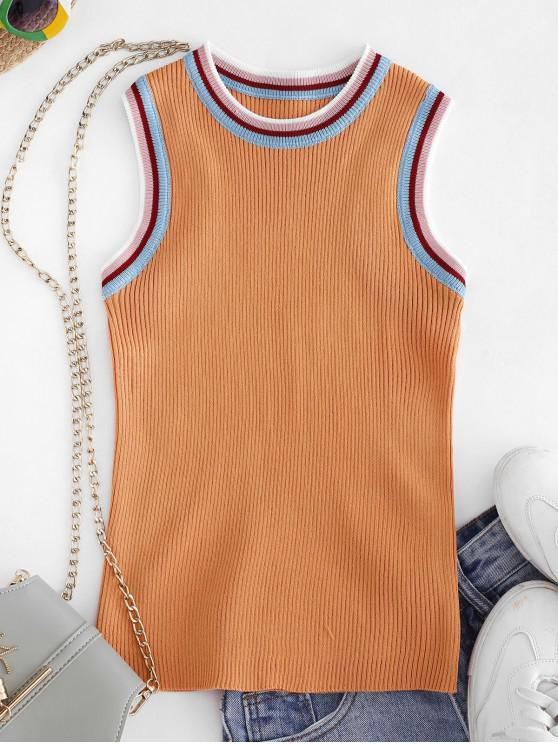 ladies Crew Neck Stripes Panel Knitted Tank Top - GOLDENROD ONE SIZE