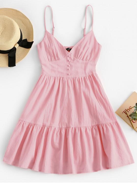 hot ZAFUL Button Embellished Smocked Flounce Hem Cami Dress - PIG PINK M