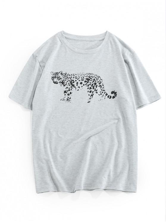ZAFUL Leopard Pattern Short Sleeves T-shirt - رمادي فاتح S