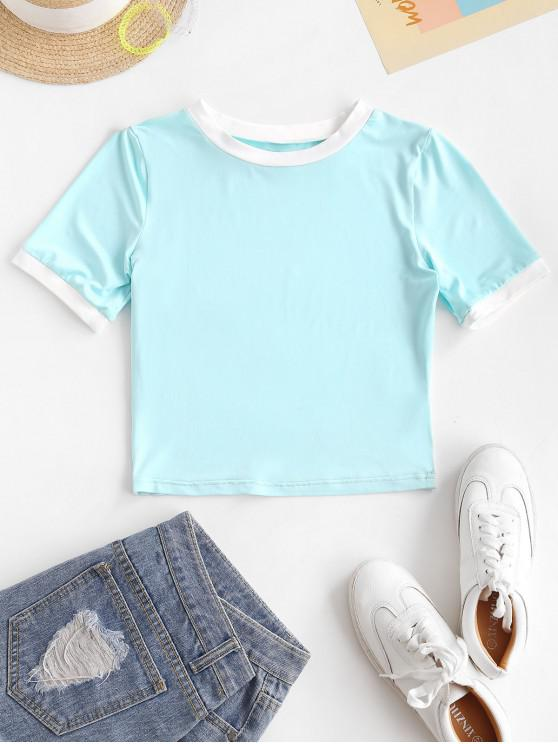 ladies ZAFUL Ringer Tee - LIGHT BLUE XL