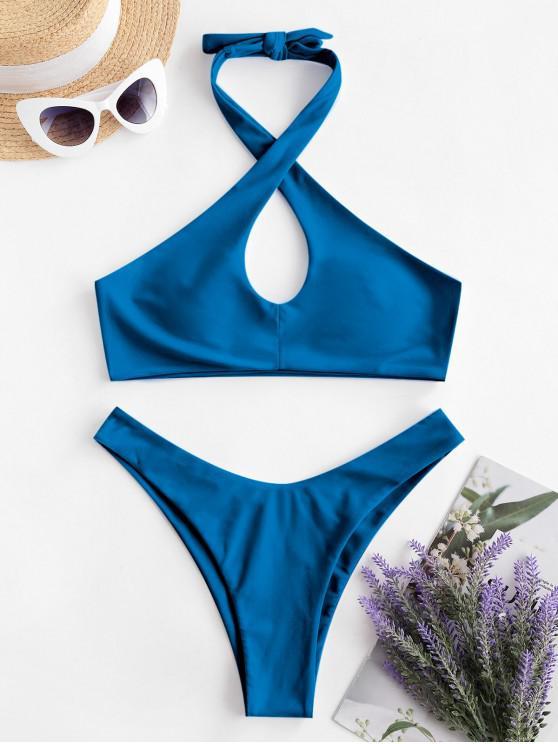 ZAFUL căpăstru Keyhole ridicat Leg Bikini Costume de baie - Albastru L