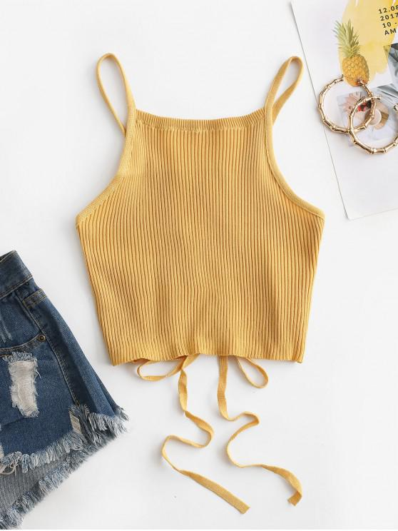 chic Lattice Ribbed Knit Tank Top - GOLDENROD ONE SIZE