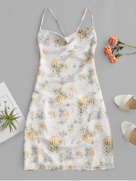 Robe FloraleCroisée auDos Ouvert - Blanc S