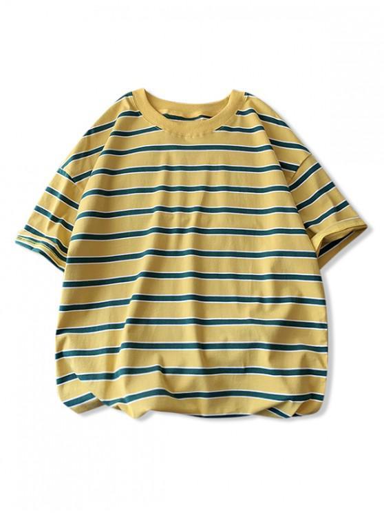 Striped Color Spliced Printed Short Sleeves T-shirt - الأصفر 2XL