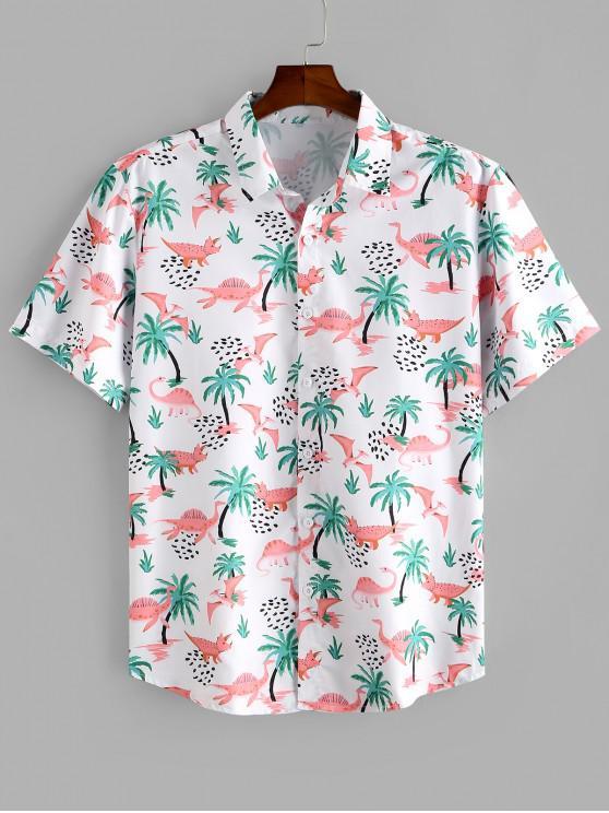 lady Dinosaur Palm Tree Print Button Up Beach Shirt - MULTI M