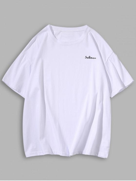 Letter Printing Short Sleeves Leisure T-shirt - أبيض M