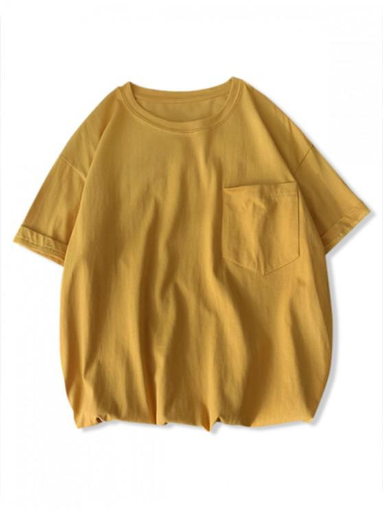 shops Solid Color Front Pocket Round Collar T-shirt - YELLOW 3XL