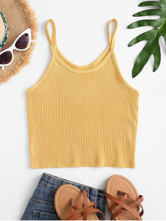 sale Knitted Fitted Plain Cami Top - YELLOW ONE SIZE