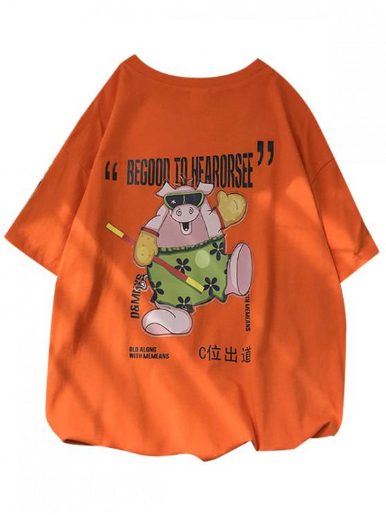 lady Pig Graphic Short Sleeve Lounge T Shirt - PUMPKIN ORANGE S