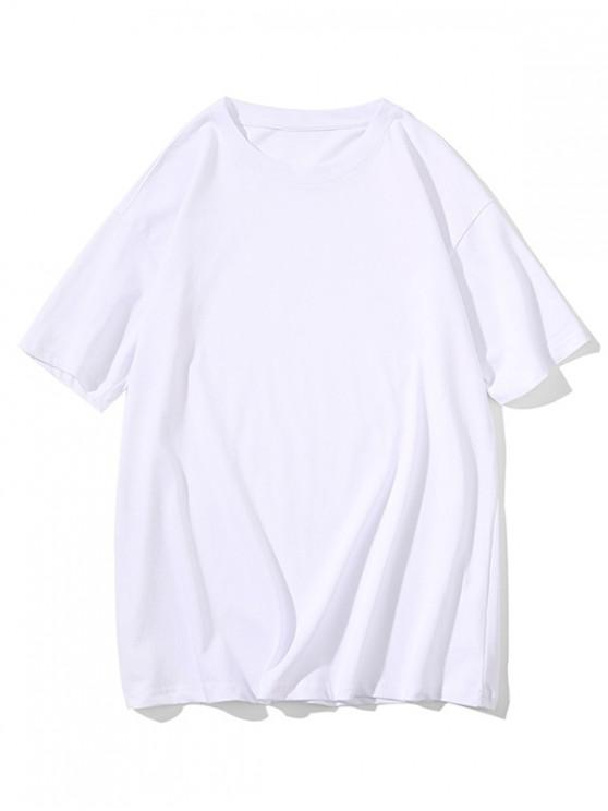 Crew Neck Pure Color Classic T-shirt - أبيض S