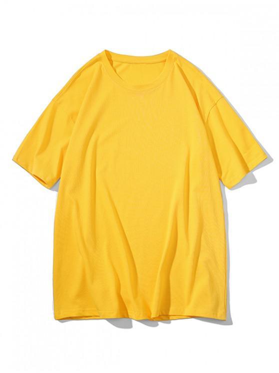 Crew Neck Pure Color Classic T-shirt - أصفر فاقع 3XL