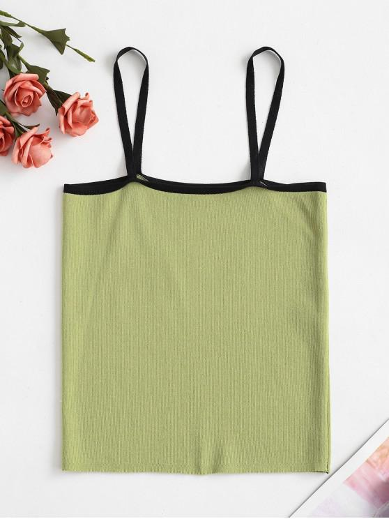 lady Piping Knit Slim Cami Top - GREEN ONE SIZE