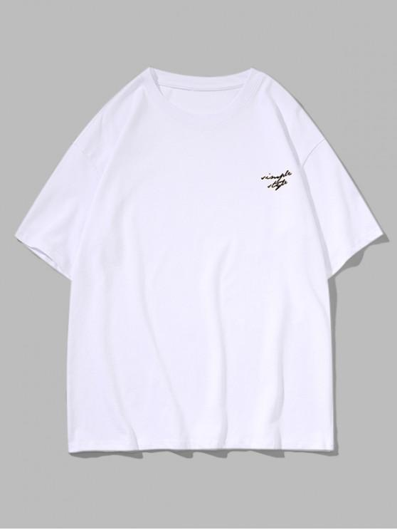 Drop Shoulder Simple Style Graphic Casual T Shirt - أبيض M