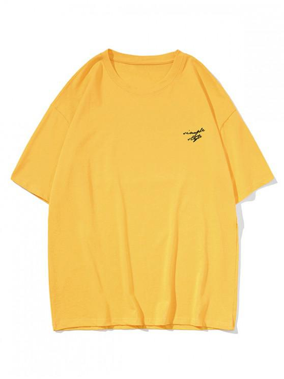 Drop Shoulder Simple Style Graphic Casual T Shirt - الأصفر 3XL