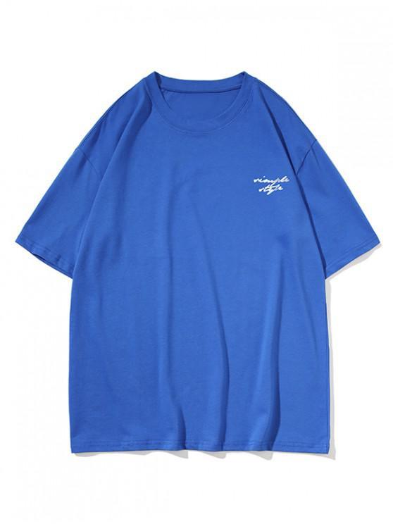 unique Drop Shoulder Simple Style Graphic Casual T Shirt - BLUE 2XL