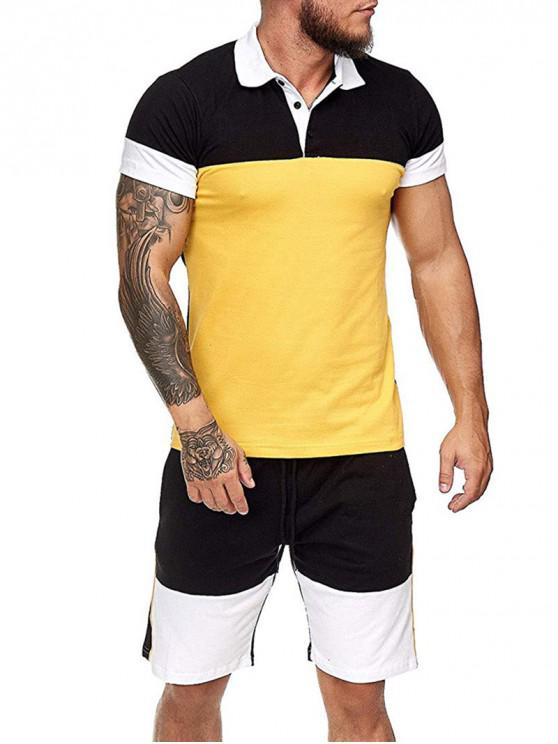 Colorblock Half Button T Shirt And Drawstring Casual Shorts Set - الأصفر 2XL