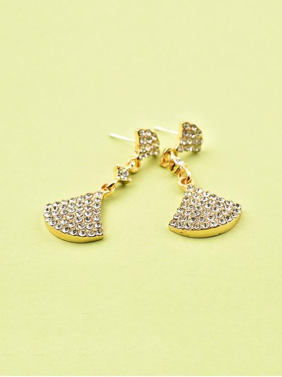 women Rhinestone Sector Shape Drop Earrings - GOLD