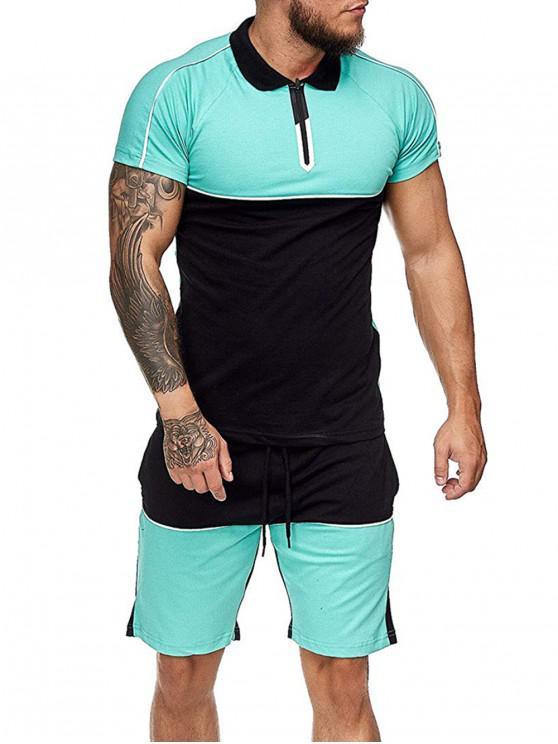 shop Colorblock Half Zip T Shirt And Drawstring Shorts Set - LIGHT GREEN 3XL