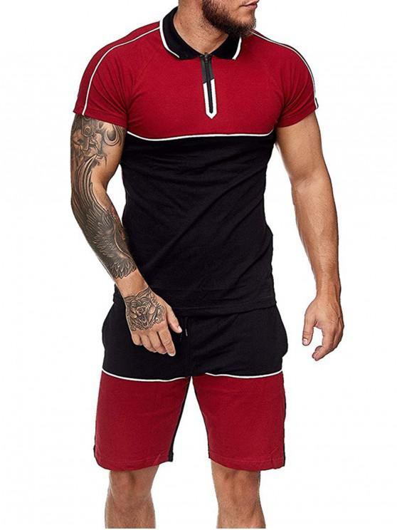 Colorblock Half Zip T Shirt And Drawstring Shorts Set - أحمر M