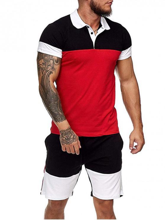 hot Colorblock Half Button T Shirt And Drawstring Casual Shorts Set - RED 3XL