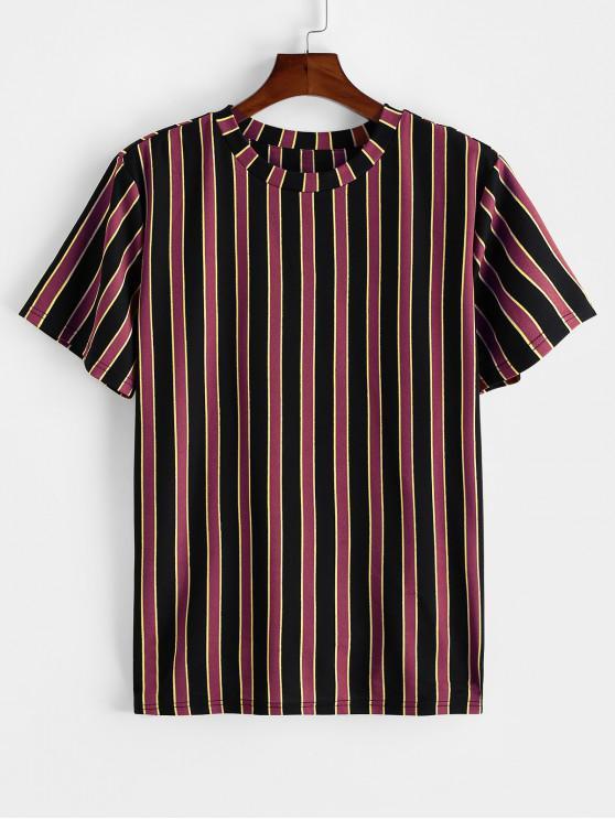 ZAFUL T-shirt Rayé Imprimé en Blocs de Couleurs à Manches Courtes - Brique Réfractaire L