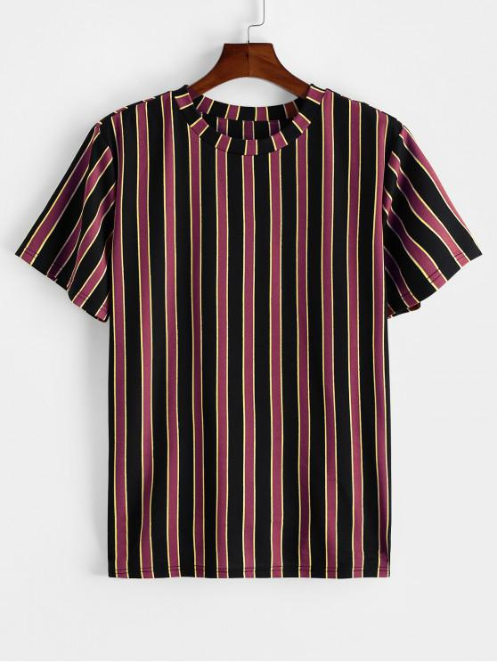 ZAFUL T-shirt de Manga Curta Listrado de Impressão - Cor de Tijolo Refratário XL