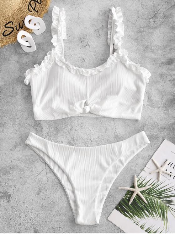 new ZAFUL Ribbed Lettuce Trim Knotted Keyhole Tankini Swimwear - WHITE M