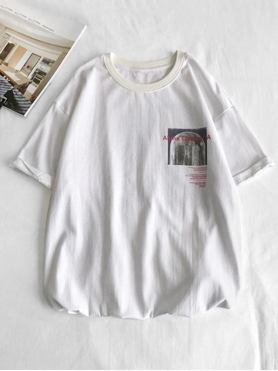 Short Sleeves Plain Graphic Tee - أبيض XS