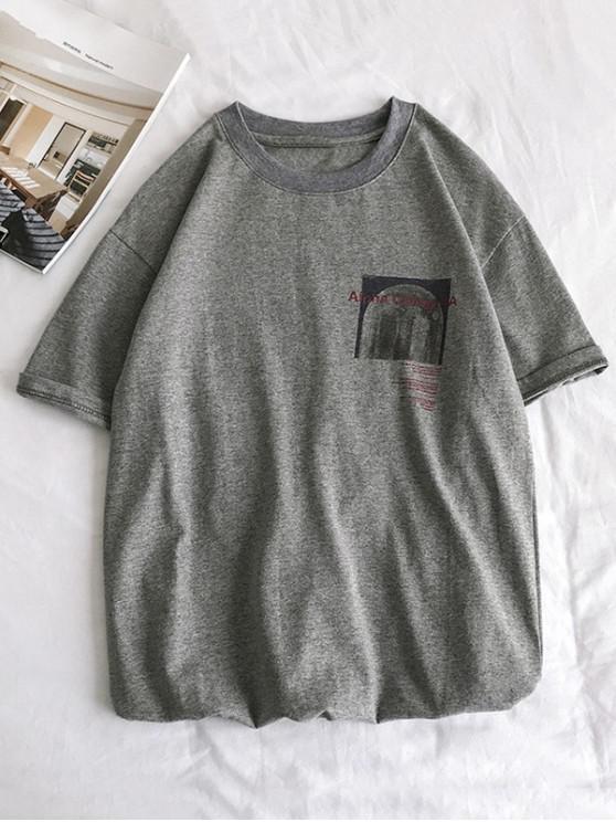 Kurzes Hülsen Schlichtes Grafik T-Shirt - Grau XS