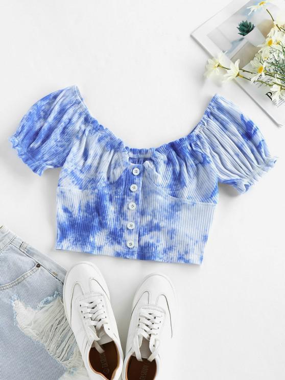 sale ZAFUL Tie Dye Puff Sleeve Crop Tee - OCEAN BLUE M