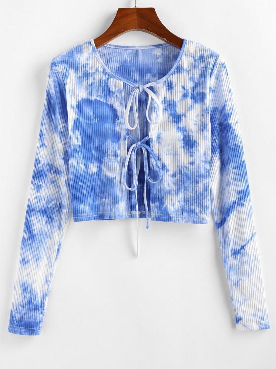 hot ZAFUL Tie Front Tie Dye Crop Tee - DAY SKY BLUE L