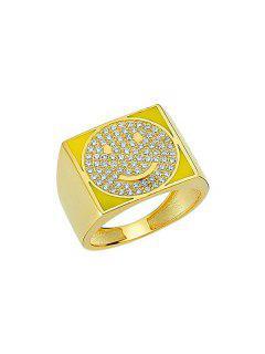 Anillo Cuadrada Imitación Diamantes Cara Sonriente - Amarillo