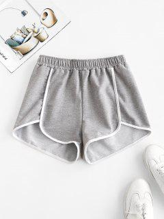 Piping Contrast Dolphin Sweat Shorts - Gray L