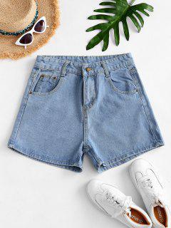 High Waisted Mini Denim Shorts - Light Blue M