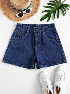 High Waisted Mini Denim Shorts - Denim Dark Blue M