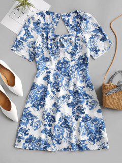 Mini-Robe Fleurie Découpée Nouée Au Dos - Bleu L