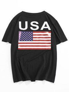 ZAFUL American Flag Letter Print T-shirt - Black 2xl